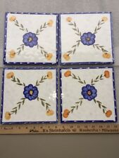 Tile's Lot Of 4 Blue Pansy & Peach's Size 8� X 8� Made In Italy