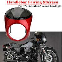 """Motorrad Roller 7"""" Scheinwerfer Verkleidung Scheibe Maske rot für Harley Bobber"""