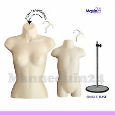 Female Torso & Toddler Body Mannequin Forms Flesh +1 Stand + 2 Hangers