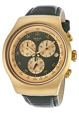 Swatch Golden Hide Green Dial SS Leather Chronograph Quartz Men's Watch YOG406