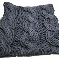 """Pottery Barn 24"""" Colossal Handknit Pillow Covers set of 2 Navy"""