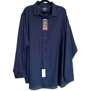 Van Heusen Navy Blue Button Up Long Sleeve Flex Dress Shirt Size 20 Big Fit NEW