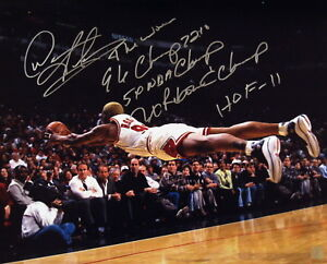 Dennis Rodman Autographed Superman Dive Chicago Bulls 16x20 Stat Photo ASI Proof
