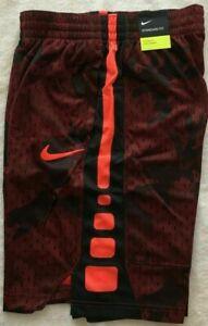 Nike Boys Dry Dri-Fit Elite Stripe Shorts Red/Black/Orange CD7584 618 Multi Size