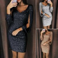 Womens Tassel Long Sleeve Bodycon Dress Sexy Mini Short Party Evening Dresses