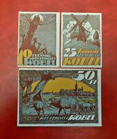RÖBEL REUTERGELD NOTGELD 10, 25, 50 PFENNIG 1922 NOTGELDSCHEINE (13144)