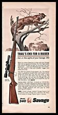 1964 Savage Model 340 High Power Rifle Print Ad Cougar hunting advertising