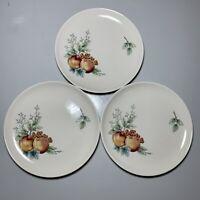 """Vintage Syracuse China Carefree WAYSIDE Fruits 8"""" Plates ~ Set of 3"""