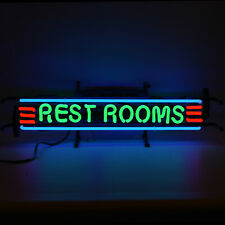 Restrooms Neon sign Rest room lighted lamp light hand blown glass bar Mancave