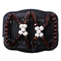 1X(Peigne De Cheveux Double Perles En Bois Magique Pince Extensible Pour Femm 2E