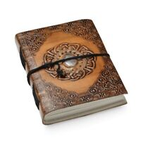 Handcrafted Leather and Cotton Diary with Rose Quartz Center Stone