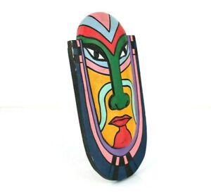 Maschera in Legno Colorata Dipinta a Mano da Collezione Arredamento ARTE Design