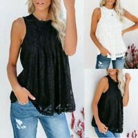 Womens Summer Casaul Sleeveless Tops Solid Lace Flowy Loose Shirts Tank Blouse