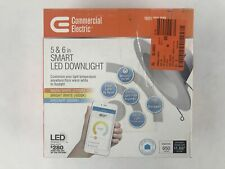 """Commercial Electric 5""""-6"""" LED Color Changing Recessed Trim Smart Downlight 5000K"""