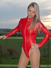 Lederbody Leder Body Rot Langarm 2-Wege-Zipper Maßanfertigung