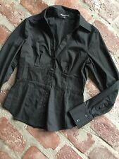 Express Design Studio Black Button Up Long Sleeve Career Shirt Top S