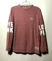 Victorias Secret Love Pink Sweater Size M Long Sleeve Terry Cloth Pullover Cozy