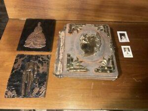 Antique Victorian Photo Album EMPTY. Plus 2 Pressed Copper Images + 2 1930's Pic