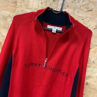 Vintage Tommy Hilfiger 1/4 Zip Neck Jumper Sweater Red   Women's Size 1X XL