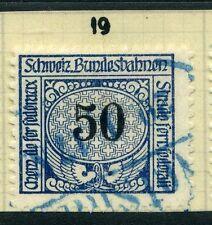 SWITZERLAND;  1913-30s early RAILWAY PARCEL stamp fine used  50c. Type  19