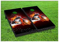 VINYL WRAPS Cornhole Boards DECALS Chopper Bike Harley Flames Game Stickers 142