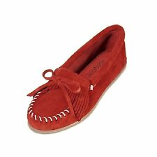 Minnetonka Womens 406 Red Kilty Suede Hardsole Moccasin 6M New In Box