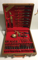 Thailand Brass And Wood Flatware Set In Wood Box