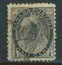 Canada #74(5) 1898 1/2 ct black QUEEN VICTORIA SQUARED CIRCLE Cancel CV$4.00