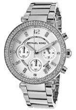 Michael Kors MK5353 Parker Silver Tone Chronograph Crystal Pave Wrist Watch
