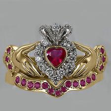 Heart Shape Natural Ruby & Diamond 14k Yellow Gold Bridal Set Claddagh Ring NEW