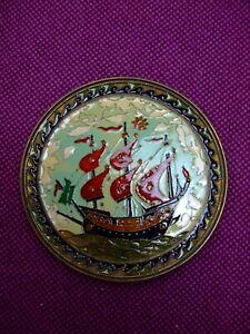 "Vintage Brass enamelled wall plaque ""Ship"" design.  Cloisonne  17cm"