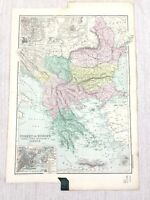 1892 Antik Map Of Türkei Serbien Montenegro Griechenland 19th Jahrhundert G W