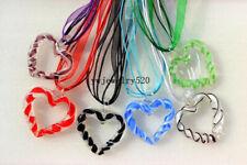 Wholesale lots 6ps Heart lampwork glass pendant+Silk Silver tone necklaces Free
