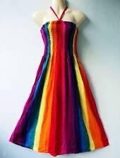 Women Adult Rayon Stripes Rainbow Boho VTG Beach Summer Casual SunDress S M L