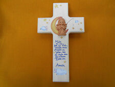Kinderkreuz mit Keramikengel Taufkreuz Holzkreuz müde Bin Ich..kommunion