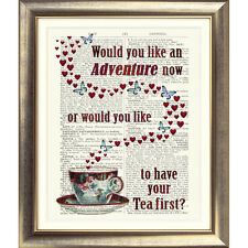 DICTIONARY PAGE ART PRINT VINTAGE ANTIQUE BOOK Tea Butterfly Hearts Quote Poster