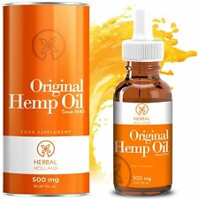 Hemp Oil Drops by Herbal Holland for Pain Anxiety Relief High Strength 500mg,...