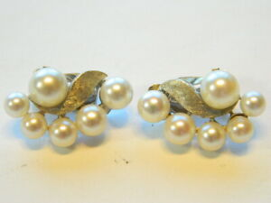 Vintage 14K White Gold Pearl Clip On Earrings  4-6mm Round  7.3 Grams