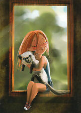 RARE Girl hugs thai cat by Dobromilskaya Russian modern postcard