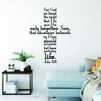 Vinyl Wall Art Decal - John 3:16 - 44* X 60* - Religious Inspirational Decor
