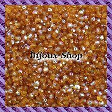 100 Perles de bohème facette 4mm Tchèque coloris Topaz AB