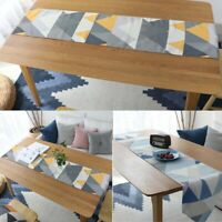 Geometric Print Table Runner Tablecloth Cover Cotton Linen Dining Home Decor New