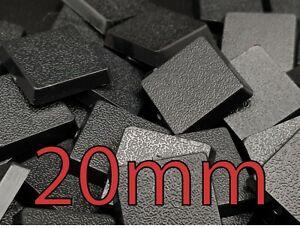 20mm Square Plain Wargaming Plastic Bases Warhammer Brand New Wargames