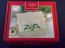 "Lenox Holiday Square Fluted ""Cheer"" Dish 4.5"" Sentiment Pattern Nib"