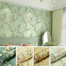 Vintage Floral 3D Embossed Wallpaper Roll Self-Adhesive Wall Sticker Green