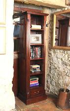 La Roque Dark Wood 5 Shelf Bookcase Narrow Alcove Display Solid Mahogany
