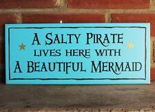 Salty Pirate and Beautiful Mermaid Sign Beach Cottage Wood Coastal Decor Turq.