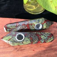1PCS-Natural Dragon Blood Stone Crystal Quartz Cigarette Holder Smoking Pipe