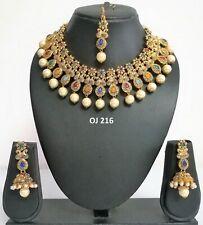 Indian Fashion Jewelry Bridal Kundan Crystal Wedding Necklace Earring Set OJ 216