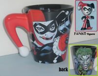 Joker Harley Quinn DC Comics mug Six Flags 16 oz & Funko Mystery Mini Figure 3""